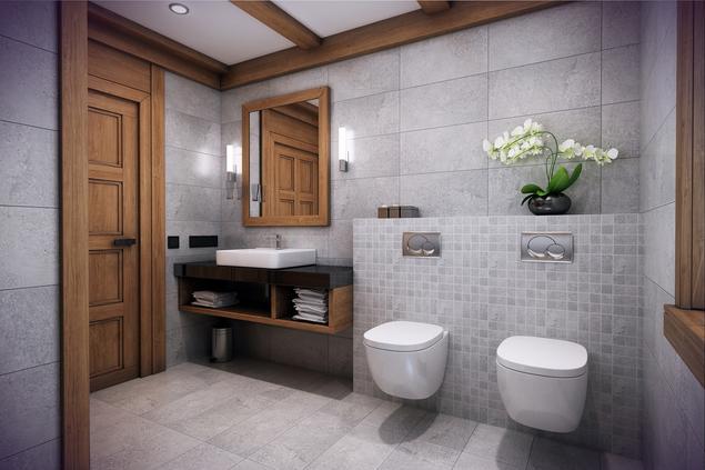 Zobacz Galerię Zdjęć Szara łazienka Z Drewnem Elegancki