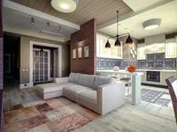 Nowoczesny salon z kuchnią – inspiracja w stylu eklektycznym